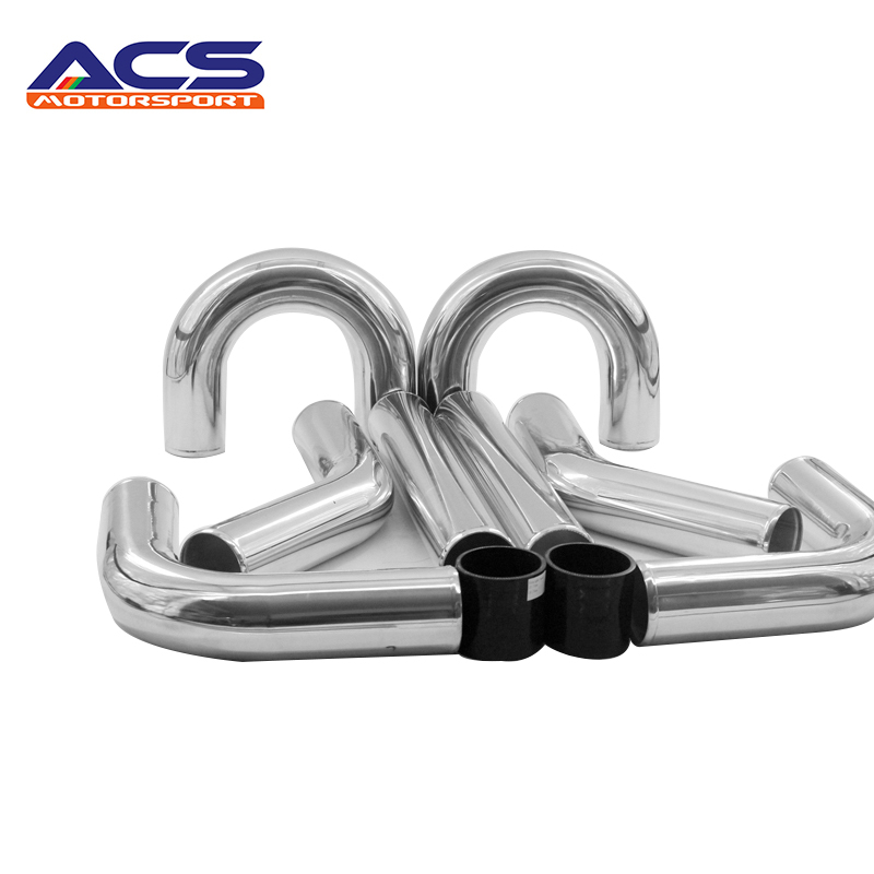 Universal Polished 500mm Length 2.25'' Aluminum FMIC Intercooler Piping Kit DIY Piping For Ford Auto radiator accessories