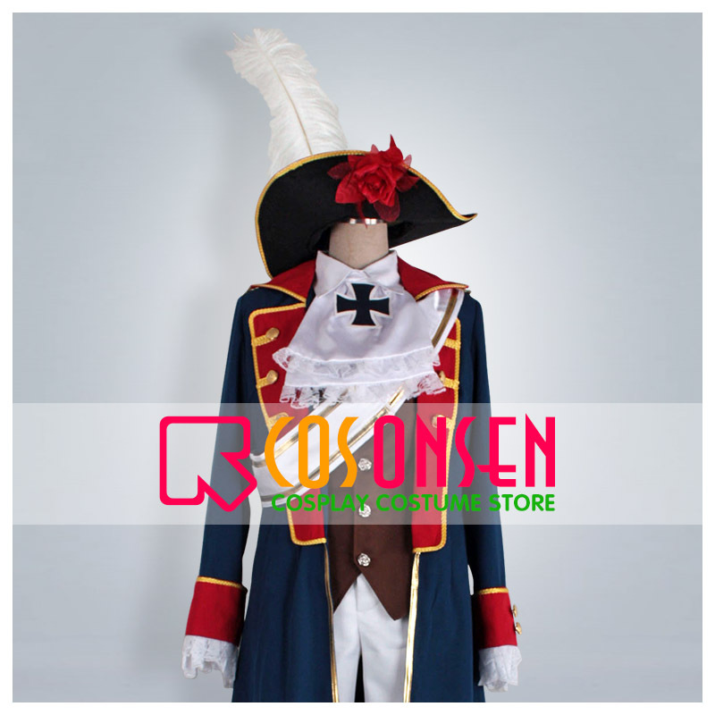 COSPLAYONSEN Axis Powers Hetalia Prussia Cosplay Costume Blue Coat Suit All Size