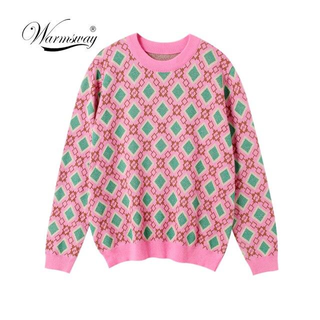 ヴィンテージ甘い多色糸ニットセーター女性 2020 新ファッション o ネック長袖女性プルオーバーカジュアルプルファム C 226