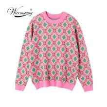 Suéter Vintage de punto de hilo multicolor para mujer, jerséis de manga larga con cuello redondo a la moda, C 226 informal para mujer 2020