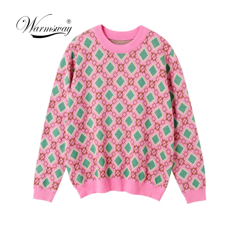 Vintage Sweet Multicolored Yarn Knit Sweater Women 2020 New Fashion O Neck Long Sleeve Ladies Pullovers Casual Pull Femme  C-226