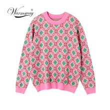 Vintage doce multicolorido fio de malha camisola feminina 2020 nova moda o pescoço manga longa senhoras pullovers casual puxar femme C 226