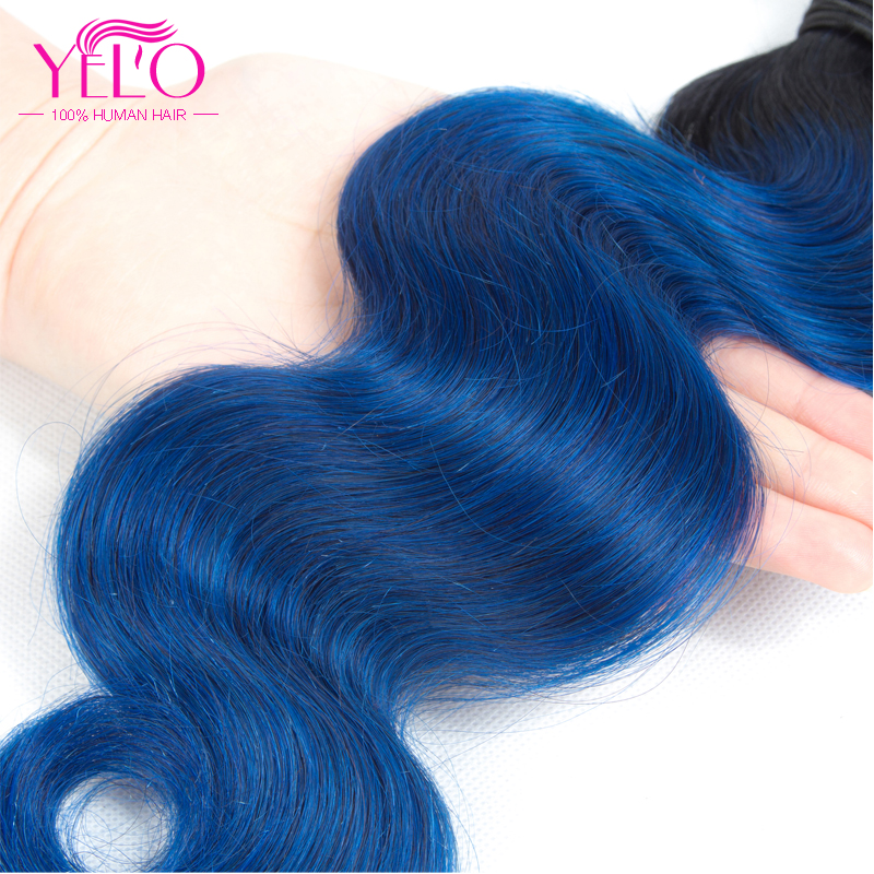 Yelo Pre Colored Brazilian Body Wave Bundles 3Pcs/Lot Human Hair Weave Bundles Non Remy Hair Extensions 1B/Blue Color 12-24Inch