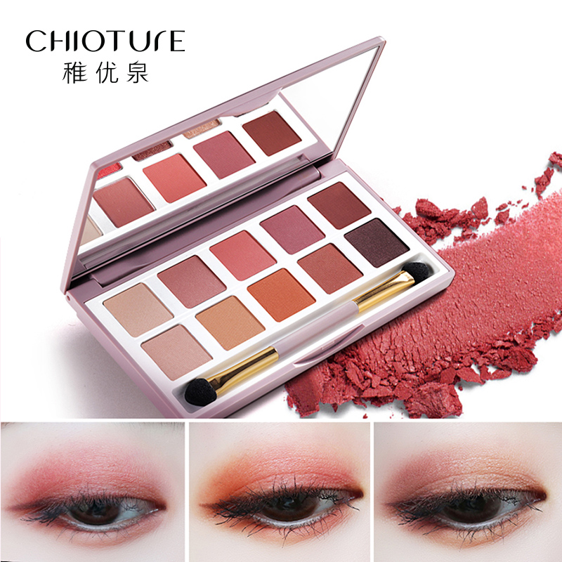CHIOTURE 10 Colors Matte Shimmer Glitter Eyeshadow Pallete Eye Shadow Makeup Make Up Palette Maquillage Paleta De Sombra beauty glazed makeup eyeshadow palette glitter diamond pigment glitter shimmer make up eye shadow sombra paleta de sombra
