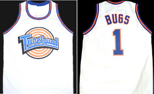 a52de00b322 BUGS BUNNY #1 TUNE SQUAD SPACE JAM MOVIE BASKETBALL JERSEY WHITE,throwback  Stitched Basketball Rev30 or Mesh Jersey
