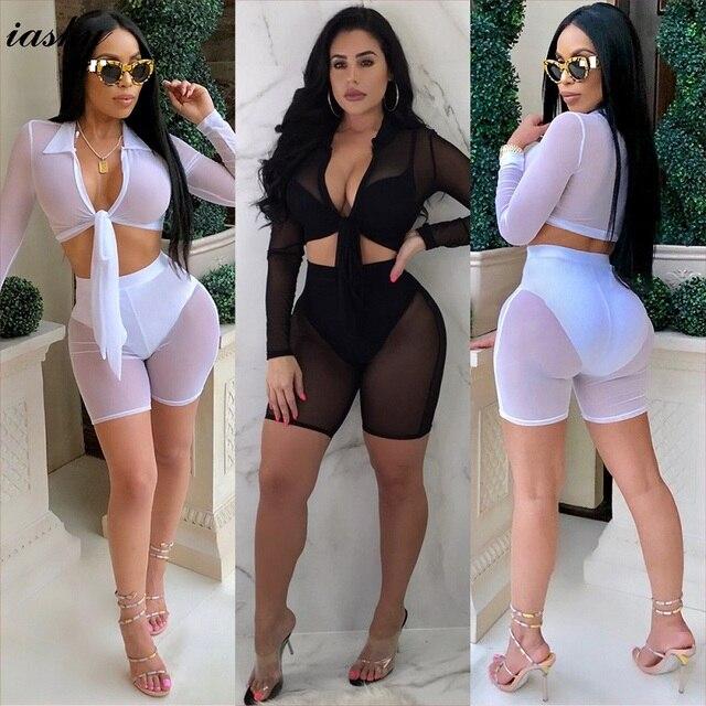 bf5039a323 IASKY 2018 New see through mesh beach Cover ups sexy women long sleeve  Top+shorts pants Bikini Swimsuit Cover Up 2PCS/Set