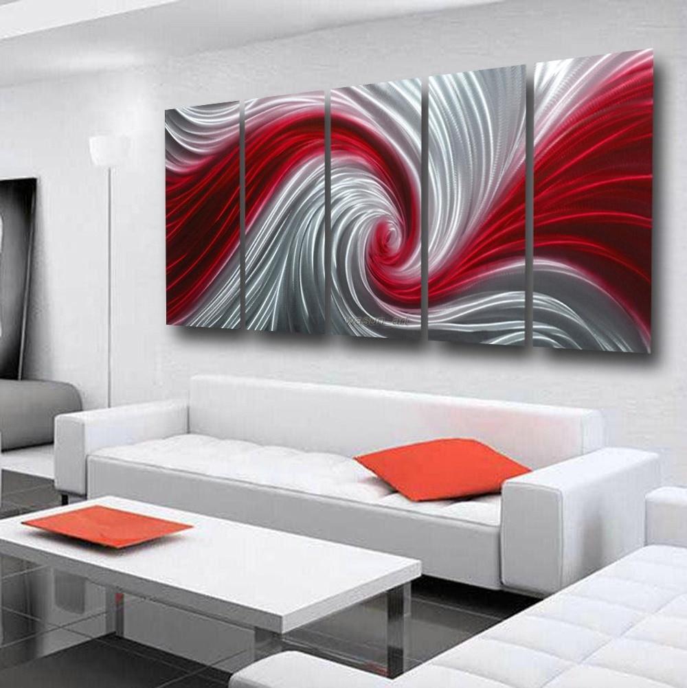 Metallic Paint Wall Hanging Mental Art Sculpture Red Whirlpool Waterproof Effect Home Decoration 00358d
