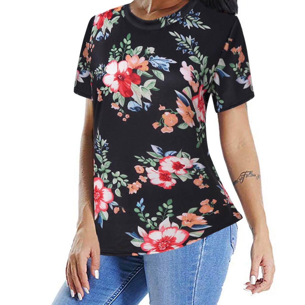 women tshirt Casual Floral Print beach new arrival summer Women Short Sleeve Round Neck T-Shirt top female camisetas mujer 2019
