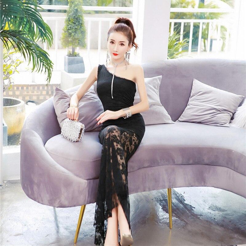 Oportunidad Real de temperamento Delgado bolsa de la cadera vestido Verano de 2019 nueva moda sexy un hombro vestido de encaje - 5