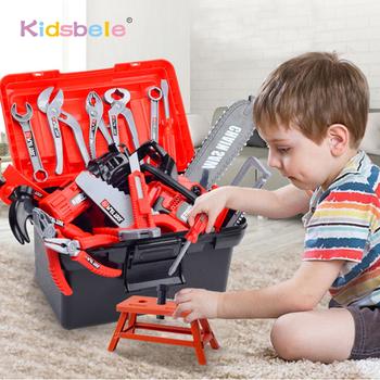 Zestaw narzędzi dla dzieci zabawki edukacyjne symulacja narzędzia do naprawy zabawki wiertarka plastikowa gra nauka inżynieria Puzzle zabawki prezenty dla chłopca tanie i dobre opinie Kidsbele Z tworzywa sztucznego small parts are not for child under 3 years old 3 lat Unisex Narzędzia ogrodowe zabawki