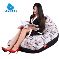 LEVMOON Beanbag Sofa European Fashion Seat Zac Comfort Bean Bag Bed Cover Without Filler Cotton Indoor