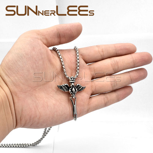 SUNNERLEES Fashion Jewelry Stainless Steel Pendant Necklace Link Chain Punk Jesus Christs Cross Wings For Mens Womens SP19|fashion necklace|necklace fashionstainless steel pendant -