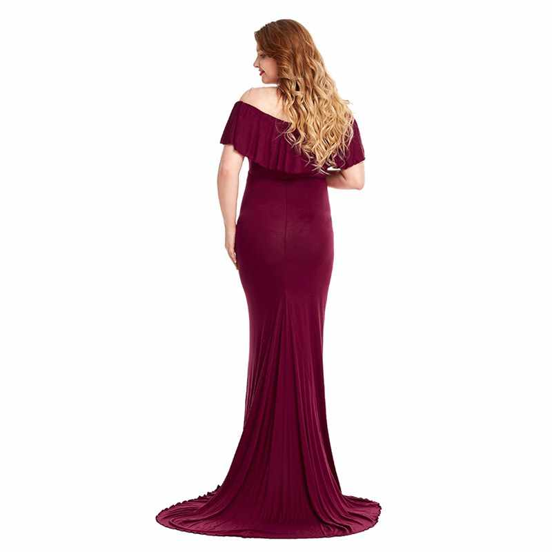 f3741bf63bf91 MUABABY Woman Off Shoulder Ruffle Pregnant Dress for Photography Sleeveless  Evening Gown Maternity Clothes Lady Train Maxi Dress