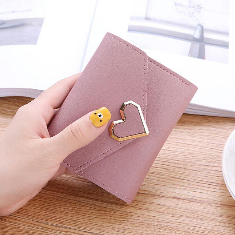Women Metal Heart-shaped Short Simple Women Wallets Three-fold Purse Mini Coin Purse Card Holders Wallet Cartera Mujer