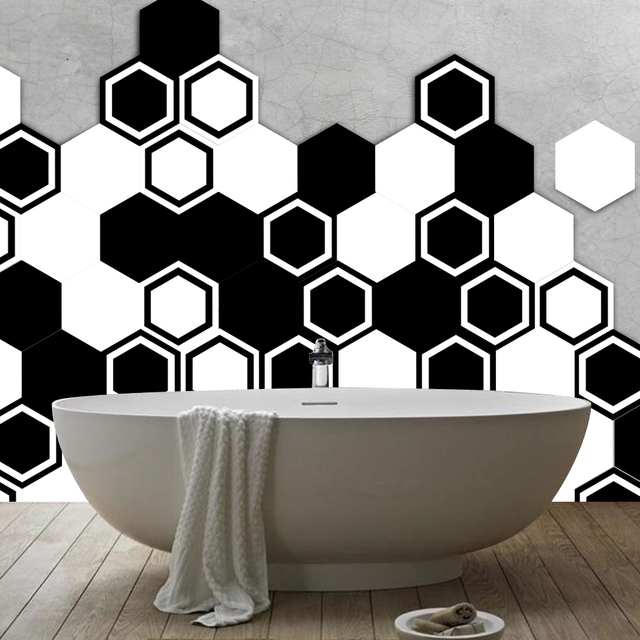 10pcs/set morocco hexagon removable pvc tile wall sticker bathroom wall decoration kitchen waterproof stickers self adhesive AX