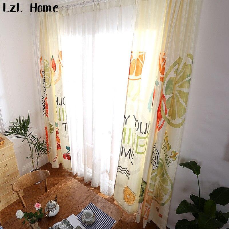 Lzl hogar Lemon Orange cortinas para sala cortina de estilo moderno ...