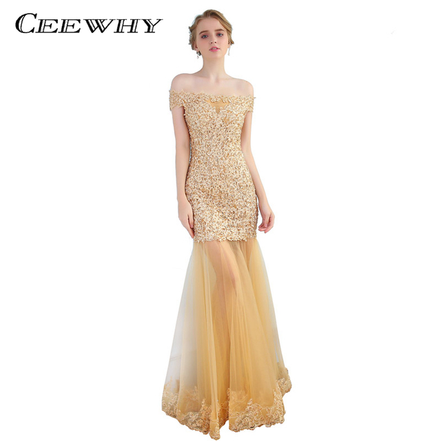 CEEWHY Boat Neck Embroidery Evening Dress Gold Prom Formal Party Gown  Abendkleider Lange Mermaid Evening Gowns Vestido Longo 07034a825ff4