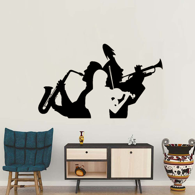 Musician saxophone trumpet violin wall decals sticker living room decor music band wall tattoo removable large