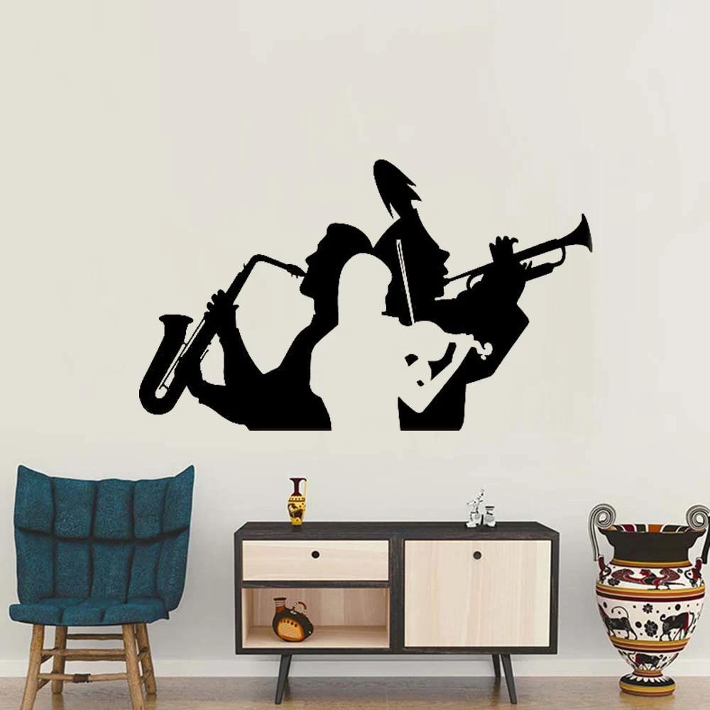 Muzikant Saxofoon Trompet Viool Muurdecoratie Sticker Woonkamer Decor Muziek Band Muur Tattoo Verwijderbare Grote Hal Muurschildering Lc156 Wall Decals Stickers Wall Tattoodecal Sticker Aliexpress