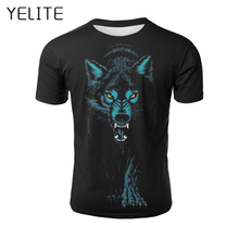 YELITE 2019 New Fashion Wolf Pattern T Shirt Men Print T-shirt Summer Casual TShirt for Mens Short Sleeve Beach Tops streetwear