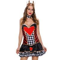 Más el Tamaño de Disfraces de Halloween Cosplay Sexy Disfraces de Halloween Para Mujer Criada Francesa Top Corazón impresión 8968 Deguisement Adulte Femmes
