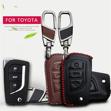 Genuine Leather Car Key Smart Bag Case Cover KeyChain For Toyota Avensis Corolla Prius Camry Vitz RAV4 Key Case Wallet Holder