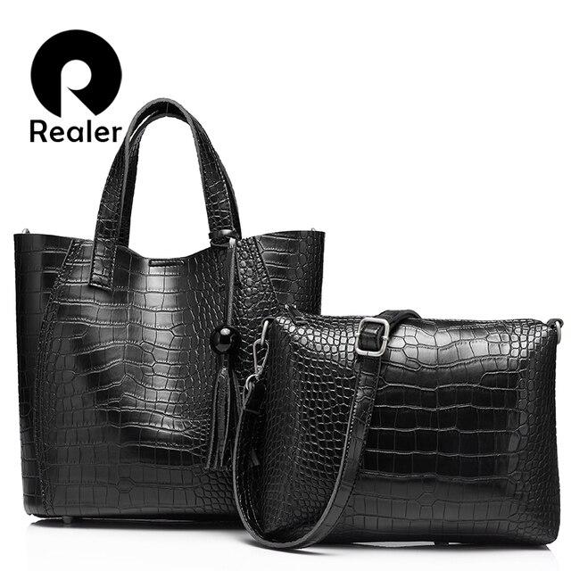 REALER brand  fashion women handbag high quality serpentine women totes ladies vintage shoulder bag
