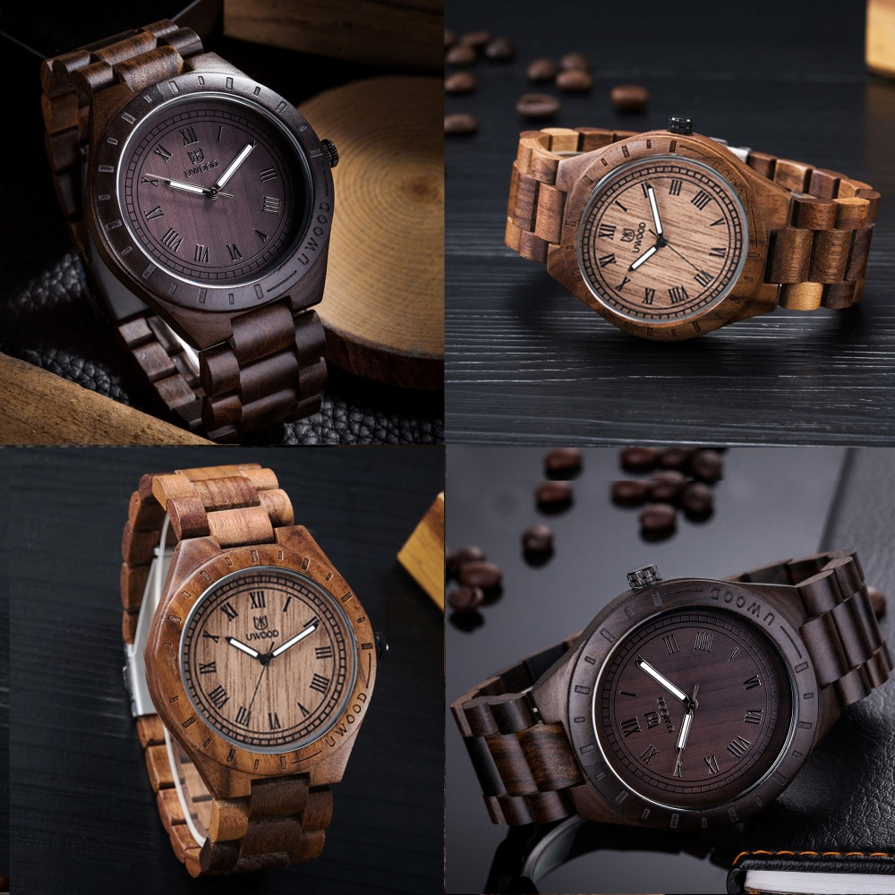 New Wooden WristWatches Men Casual Quartz Watch Adjustable Wooden Band Bracelet Mens Wrist Watch Gift Giving Walnut Wood Watches