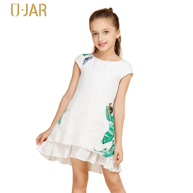 UJAR Brand Short Sleeve A-line Ruched Girl Print Dress 4-12 Years Child Kids Mini Summer Dresses U52O402 sweet short sleeve candy color girl s mini a line dress
