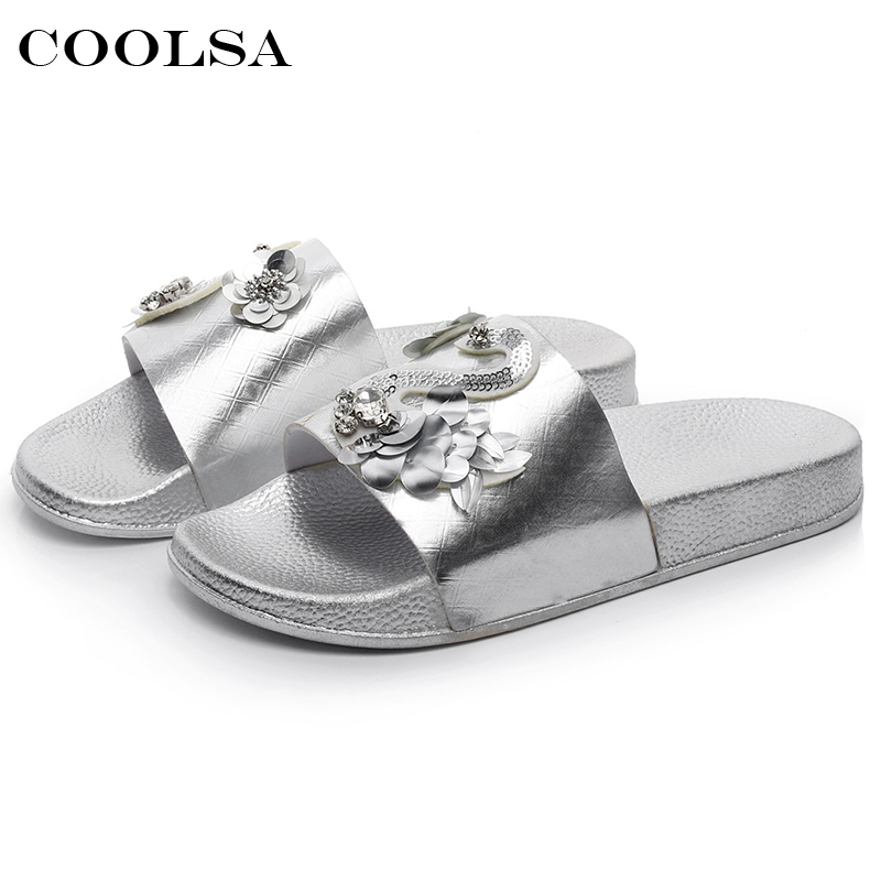 Coolsa New Summer Women Bling Slippers Rhinestone Flowers Beach Sandals Flamingo Flat Lady Slides Home Flip flops Casual Shoes