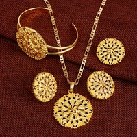 Ethiopian Jewelry set Pancake Pendant Chain Earring Ring Bangle Big Flower Jewellery Eritrea Habesha Wedding African