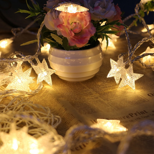 40led copper wire star curtain string lights fairy theme room light wedding christmas new year decoration
