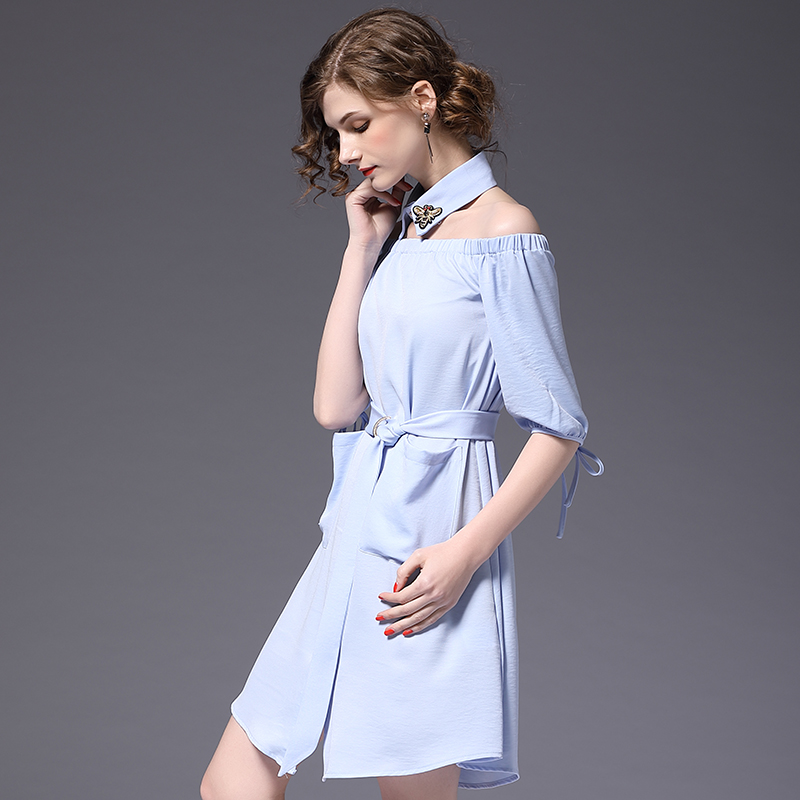 streetwear 2018 large size womens new lace waist thin shoulderless sexy word shoulder embroidered dress word dress SZOS16155