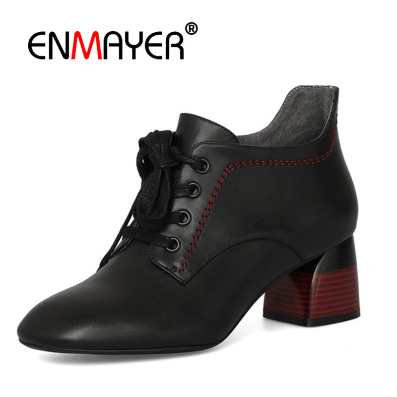 ENMAYER Women Ankle Boots Size 34-39 Causal Thick High Heels Fashion Boots Pointed Toe Shoes woman Lace up Black Beige CR1146 недорго, оригинальная цена