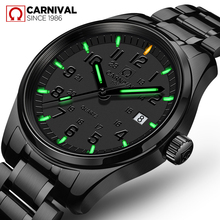 Carnival Mens quartz watch tritium automatic light's luminous male military watch waterproof fine steel