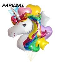 7pcs Anagram Rainbow Unicorn Helium Foil Balloons 18 Inch Star And Heart Balls Theme Baby Birthday