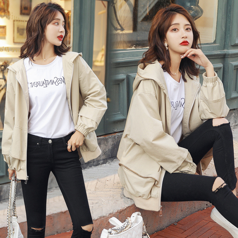 New Plus Size Women Coat 2019 Spring Autumn Women's Clothing Casual Hooded Short   Trench   Coat Female Slim Thin Outerwear V821