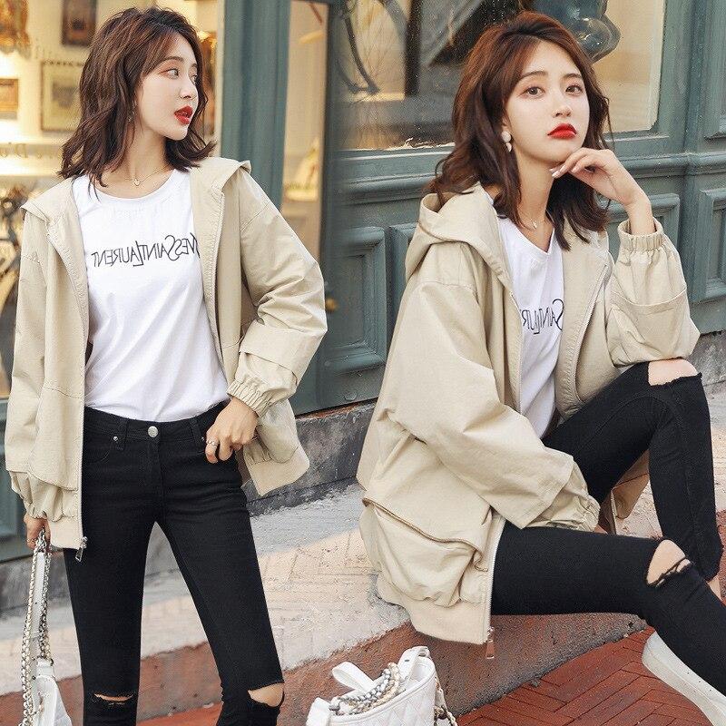 Nowy Plus rozmiar kobiety płaszcz 2019 wiosna jesień odzież damska na co dzień z kapturem krótki wykop płaszcz kobiet szczupła cienka odzież wierzchnia v821 w Trencze od Odzież damska na  Grupa 1