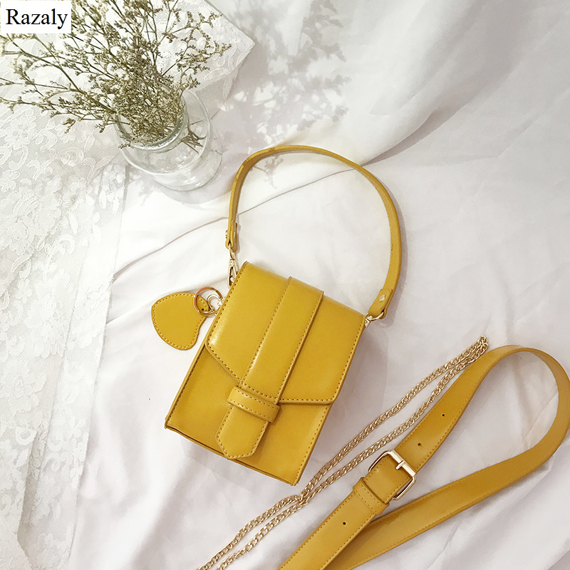 Razaly brand small yellow gold phone bag mini satchels pu leather metal chain flap wide strap handbags designer purse summer