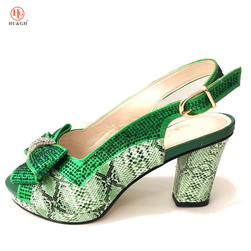 New Arrival Italian Green Shoe High Square Heels Best Selling African Woman Sandals Shoe For Women