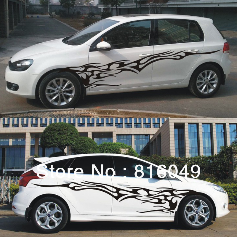 Free Shipping, Flame Style Car Body Stickers,hatchback