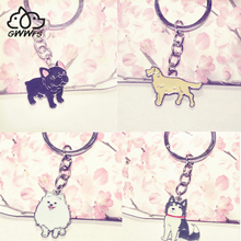 Pet dog pendant key chains for men women girls silver color zinc alloy car bag charms metal keychain key rings trinket fashion