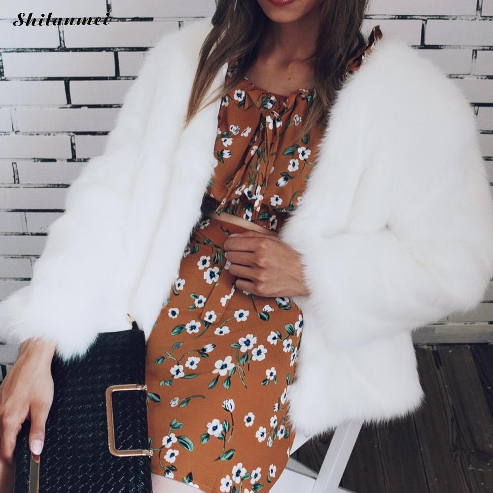 Winter Fox Plus black New Hair Outerwear Elegant Peach Femme Overcoat Faux Fur Fashion Warm Coat Dark Short Full white Size Jacket light Women 2018 Green STx8nq4T