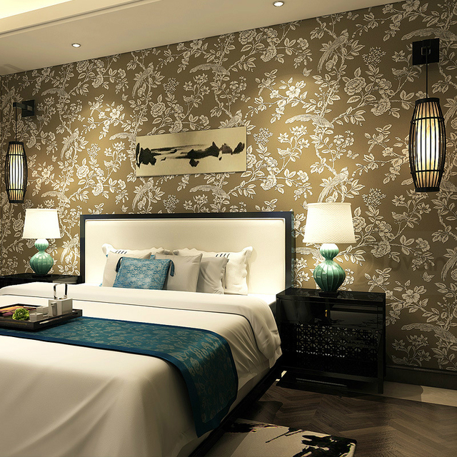 Schwarz Braun Blau Weiß Nicht Gewebt Blumen Design Wandpapierrolle  Rustikalen Vögel Blumen Tapete Für Wohnzimmer Schlafzimmer