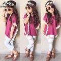 New Kids Girl's Wear Fashion Short Sleeve Lace Decor Loose Tops and Denim Hollow Out Pants Casual Sets Clear