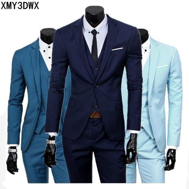 (Chaqueta + chaleco + Pantalones) 2018 primavera hombres Slim Fit negocio  de tres piezas 460ad431eb51