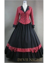 Noble Black and Red Plaid Vintage Gothic Victorian Dress