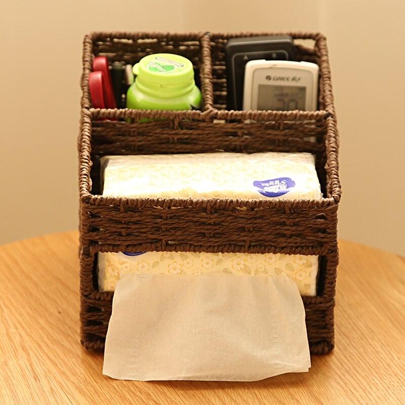 Home Storage Organization Weave Storage Basket Tissue Box Tabletop Storage Basket Sundries Basket Pen Container 17x17x17x11cm