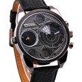 2016 Japão Qualidade 2 Time Zone Relógio Quartz Pulseira De Couro Jogo de Radar-estilo de quartzo-relógio esportes dos homens militares relógios do relógio dos homens