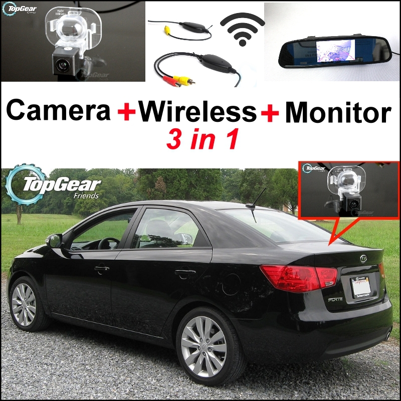 3 in1 Special Camera + Wireless Receiver + Mirror Monitor Easy DIY Back Up Parking System For KIA Forte Cerato 2009~2013 wireless pager system 433 92mhz wireless restaurant table buzzer with monitor and watch receiver 3 display 42 call button